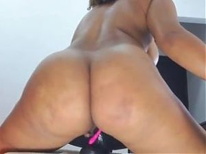 Ebony Girl Plays with her vibrator