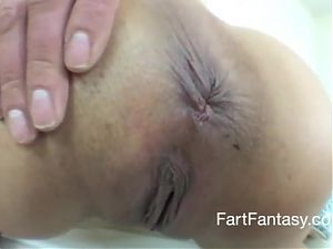 Slow motion, fart in close up