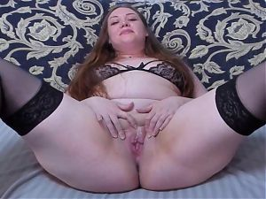 Shy chubby Russian exposes tight pussy