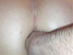 Filling up my gaped ass with his cum
